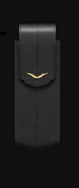 Bao da Vertu Signature S logo vàng